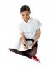 Smiling schoolgirl doing homework